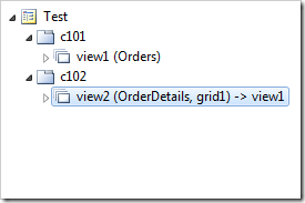 The data views have been configured with a master-detail relationship.