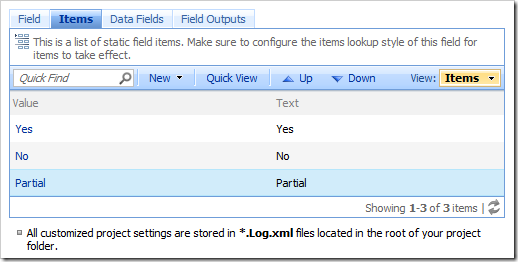 List of static field items on the Items tab of the Fields page.