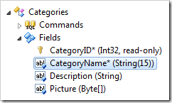 CategoryName field moved after CategoryID field in the Project Explorer.
