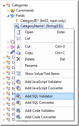 Add SQL Validator context menu option for a field in the Project Explorer.