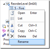 Rename context menu option for item will edit the Value property.