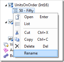 Rename context menu option for an item.