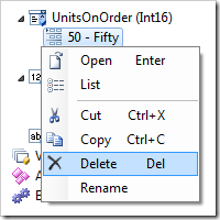 Delete context menu option will remove the item from the list.