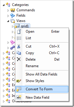 Convert to Form context menu option in the Project Designer for web applications.