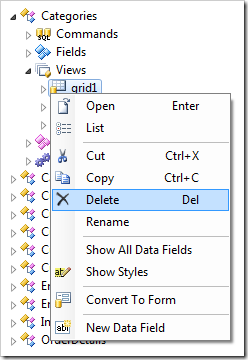 Delete context menu option in the Project Explorer.