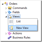 New View context menu option for Views node in the Project Explorer.