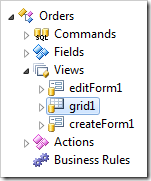 Grid1 view is placed after editForm1 in the Orders controller.