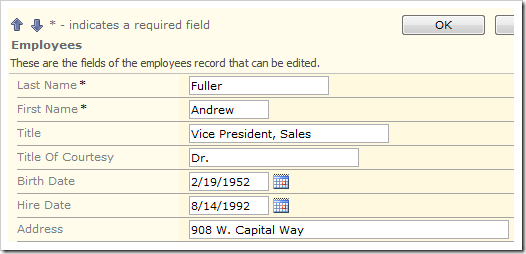 Employees edit form with First Name required field and the not required Title field.