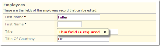 When the user attempts to save with a blank required field, a message will be displayed.