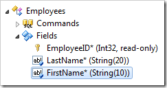 FirstName field of Employees controller in the Project Explorer.
