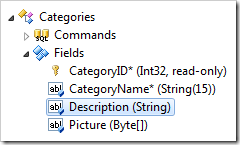 Description field in the Categories controller in the Project Explorer.