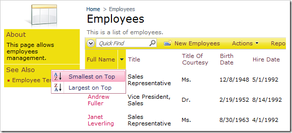 FullName column header has sorting enabled and displays a context menu with sorting options.
