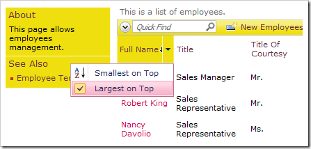 Largest on Top sorting option enabled for Full Name column.