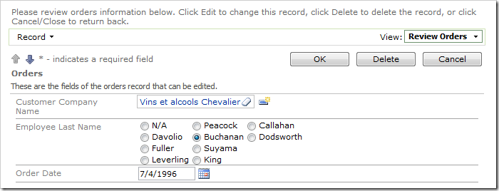 Employee Last Name lookup field configured as a three column radio button list.