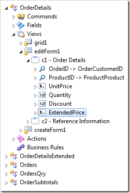 Data Field 'ExtendedPrice' created in 'c1 - Order Details' category.