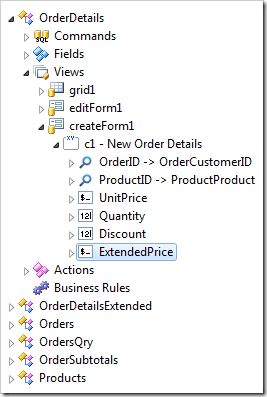 Data field 'ExtendedPrice' created in view 'createForm1'.