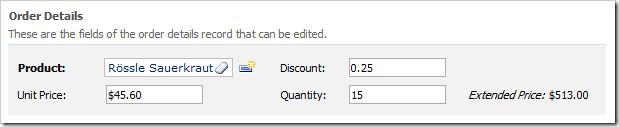 Extended Price is rendered as a read-only field that is calculated when the form is rendered.