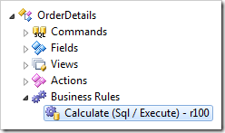 Calculate business rule in Order Details controller.
