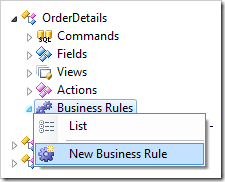 New Business Rule context menu option for Order Details controller in the Project Explorer.