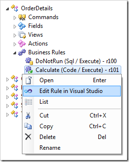 Edit Rule in Visual Studio context menu option for Code business rule.