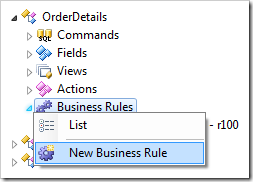 New Business Rule context menu option for Order Details controller.