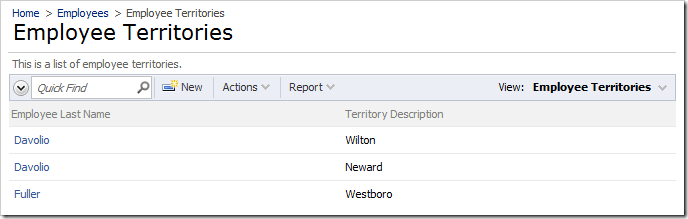 Employee Territories page allows setting up relationships between employees and territories directly.