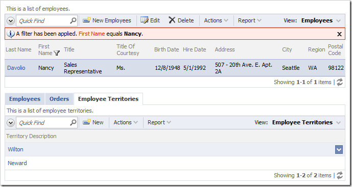 Employee Territories child data view allows editing territories associated with the selected employee.