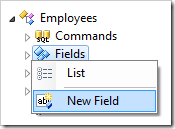 New Field context menu option for Employees controller.