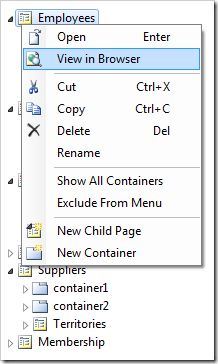 View in Browser context menu option for Employees page.