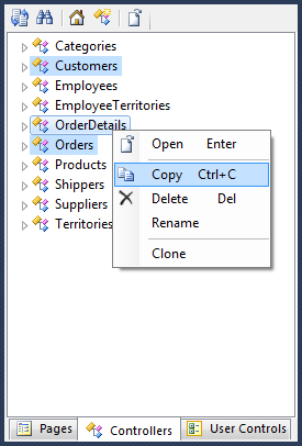 Copy context menu option on OrderDetails controller node in the Project Explorer.