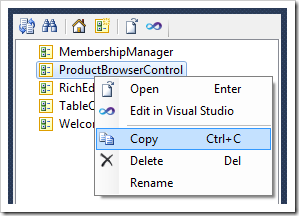 Copying a user control to Clipboard in Code On Time Project Designer