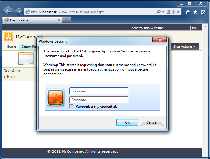 A standard browser login window displayed when a data controller REST resource requires authentication
