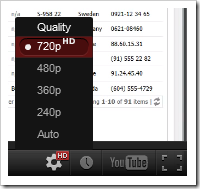 Changing the quality of a YouTube video to 720p.