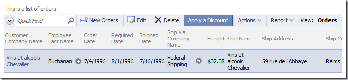 Custom action 'Apply a Discount' accessible on the action bar of Orders grid view.