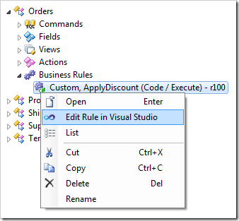 Context menu option 'Edit Rule in Visual Studio' for the code business rule.