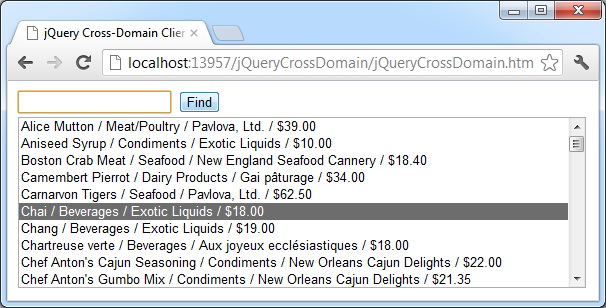 The search result displayed in jQuery cross-domain dynamic client of the demo web app when a search criteria is not specified