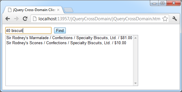 The search result displayed in jQuery cross-domain dynamic client of the demo web app with '40 biscuit' search sample