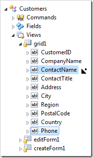 Dropping Phone data field on the right side of ContactName data field.