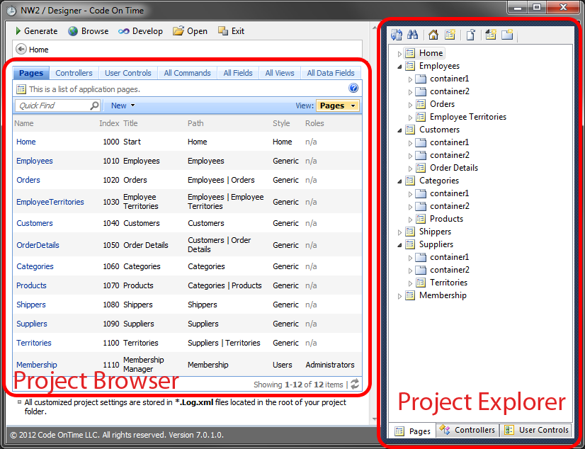 The Project Browser and Project Explorer panes of the Project Designer window.