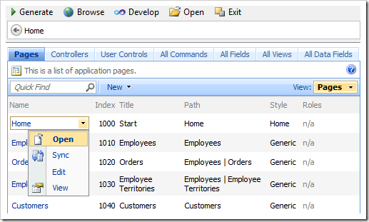 Open context menu option for 'Home' page in the list of pages of the Project Designer.