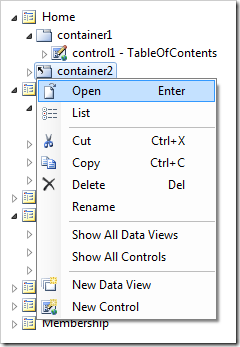 Open context menu on 'container2' node under Home page.