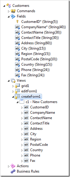 The highlighted view createForm1 includes the fields from the model