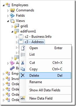 Delete context menu option on a category in the Project Explorer.