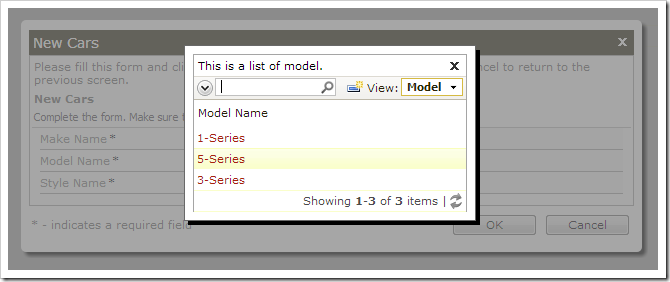 Selecting a lookup value for model.