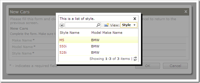Selecting a lookup value for style.