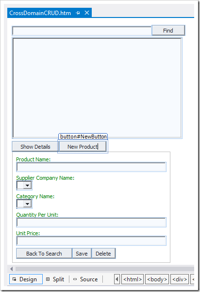 Product Catalog Manager in Design mode in Visual Studio 2012