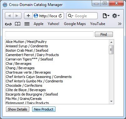 Jquery Product Catalog in Product Catalog Manager