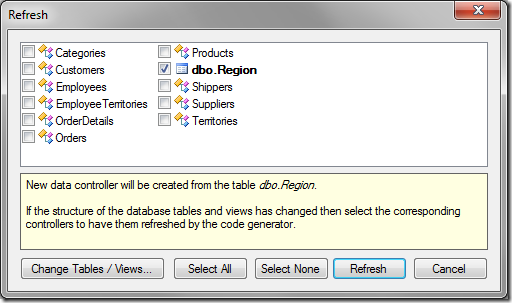 Region table to be added to the application after refresh.