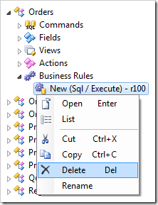 Deleting the SQL business rule.