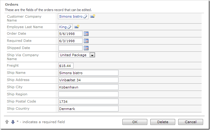 Data fields in the Orders edit form have been resized.